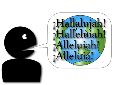 A graphic I created in Adobe Photoshop with the hallelujah in different languages.