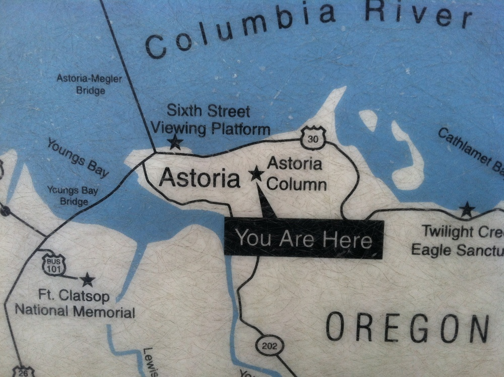 "The ""you are here"" sign for Astoria Oregon's Column."