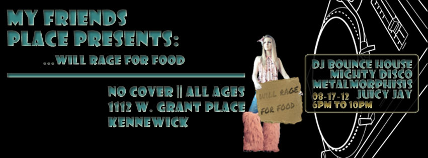 This is the Facebook Cover Photo I created for My Friends Place's Event, Will Rage for Food.  I made it in Adobe Photoshop.  I got some of the images through a Google Image Search.  I took the DJ Mixer and the Girl, but I made everything else. The following are the images associated with this event.