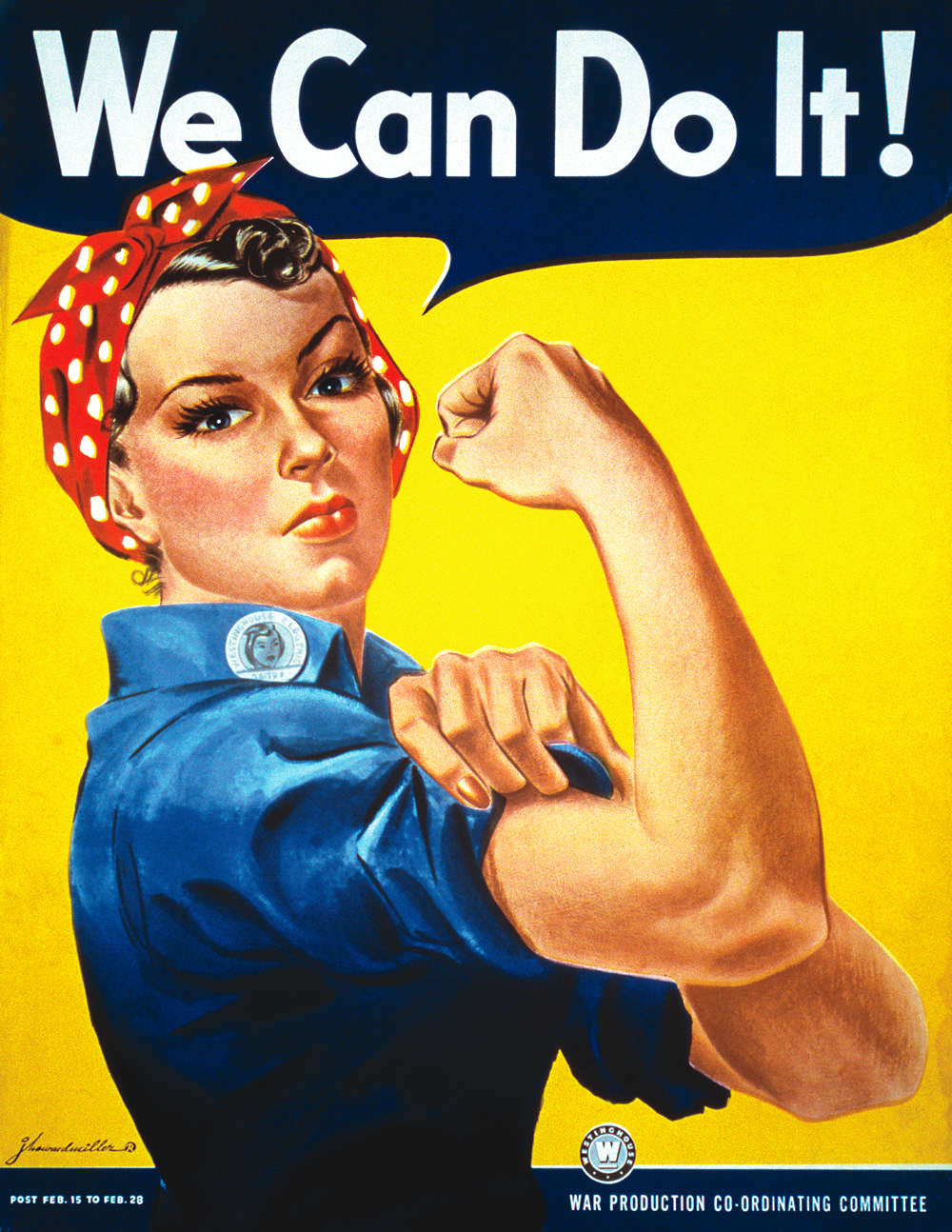 """We Can Do It!"" poster for Westinghouse, closely associated with Rosie the Riveter, although not a depiction of the cultural icon itself. Pictured Geraldine Doyle (1924-2010), at age 17. This image was downloaded from Wikipedia."