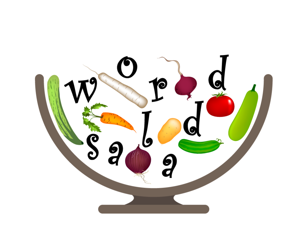 "A graphic I created in  Adobe Illustrator  depicting a vegetables, a salad bowl, and the text ""word salad."" The veggies used are from  All Free Download's Salad  the and I got some inspiration from the  Dreamtimes stock photo: Bowl with Vegetables . You can download the  Illustrator File ."
