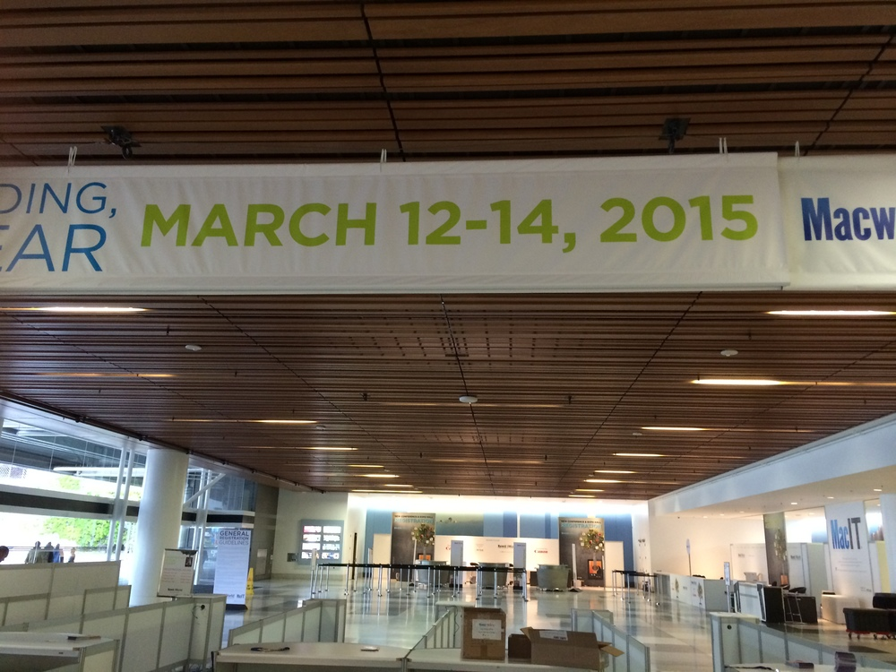 The view of banner with the dates for next years Macworld / iWorld event.