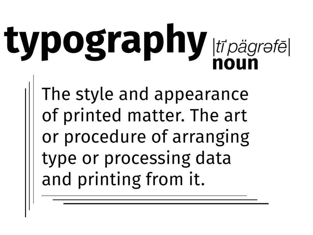 Graphic of the dictionary definition of typography.