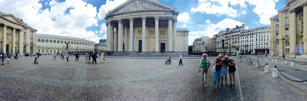 A panorama shot of my family (although, they aren't paying attention) in front of the Panthéon.