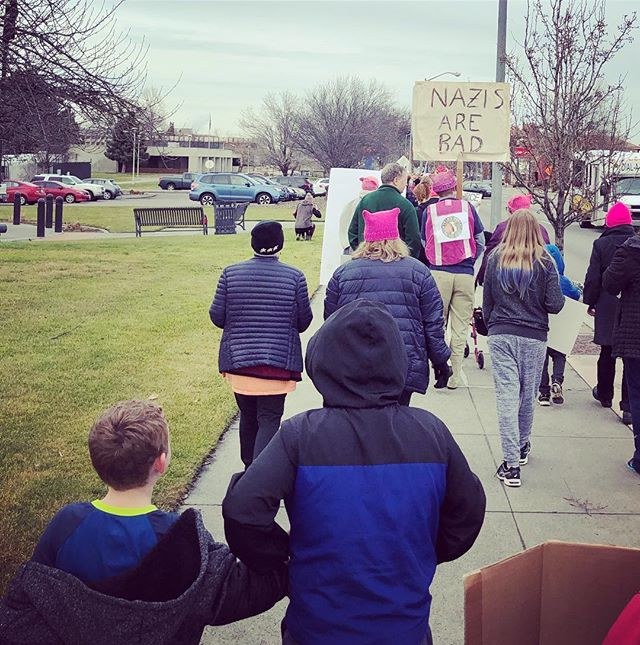 Marching at the women's march earlier this afternoon.