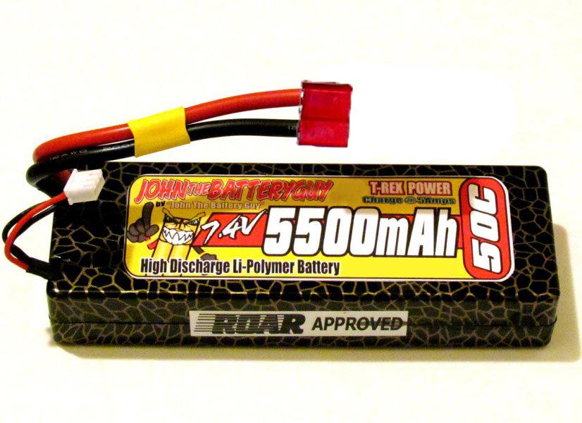 T-REX 'ROAR-APPROVED' 50C '5500mAH' 7.4V LIPO BATTERY PACK (HARDCASE)