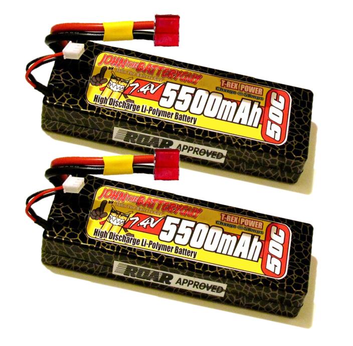 TWO T-REX POWER 50C 5500mAH 7.4V LIPO BATTERY PACKS