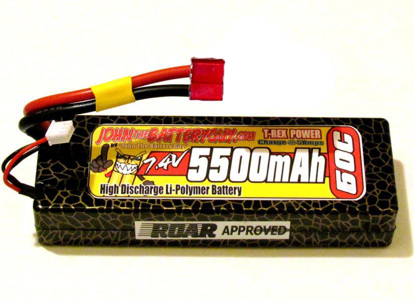 T-REX 60C 'ROAR-APPROVED' '5500mAH' 7.4V LIPO BATTERY PACK