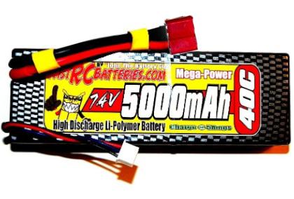 MEGA-POWER 40C 5000mAH 7.4V LIPO BATTERY PACK (HARDCASE)