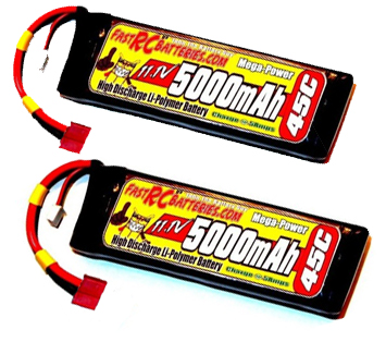 TWO MEGA-POWER 11.1V HARDCASE 5000mAH 45C LIPO BATTERY PACKS
