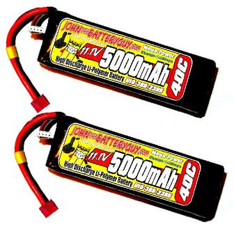 TWO MEGA-POWER 40C 5000mAH 11.1V 3S LIPO BATTERY PACKS (SOFTCASE)