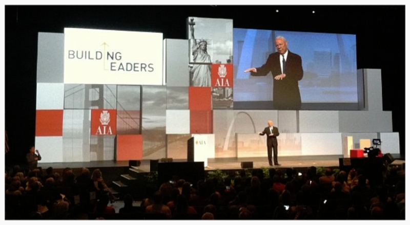 General Colin Powell speaks as the closing keynote at AIA Convention 2013 in Denver