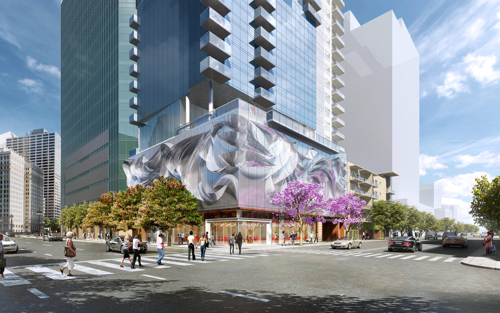Street-level view rendering of new Forge SD Tower at India & Beech. It will feature San Diego's first-ever robotic parking garage.