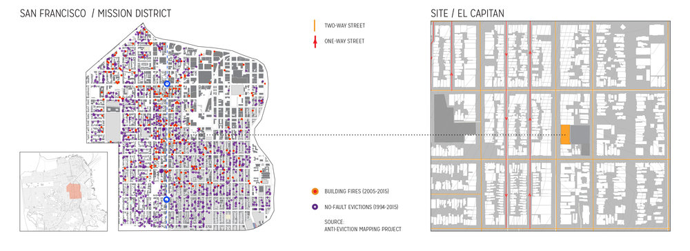 "A history of displacement: Mapping building fires and no-fault evictions in the Mission District.   Data credit:  http://www.antievictionmappingproject.net/fires.html   Historic neighborhoods like the Mission District have become battlegrounds of cultural identity and gentrification. Low-income residents are vulnerable targets for displacement, while consequential existing buildings are under constant threat of demolition due to both deterioration and new construction. This critical situation has inspired the Kwan Henmi & DCI Team to challenge the current battle and propose an alternative path forward.   PROPOSAL   'Mission: Housing' showcases mass timber products as a tool for alternative development, providing additional housing in the heart of the city without demolition of existing structures or displacement of existing residents. El Capitan Theater & Hotel, built in Mexican Baroque ""Churrigueresque"" style, is one of many exquisite historic resources falling into neglect whose ongoing viability is at risk. The original theater was demolished and used as a parking lot, while the hotel was converted into a Single Resident Occupancy (SRO). The opportunity and goal of this proposal is to build atop the existing structure with minimal intrusions to the existing structure and embrace the affordability aspect of its current use while reconnecting the site to the surrounding community."
