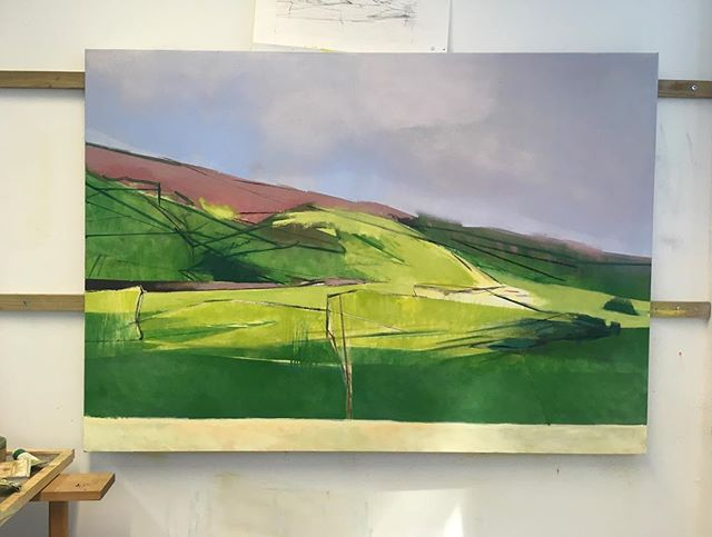 Another day .... in studio...all to play for #play #art #green @theartistshouse #artists #paint #paintings #aesthetictryrant #theartistshouse  #artistsoninstagram #artistsofinstagram #landscape #fineart #exhibition #figurative # abstract #studio #walls #fields #edinburgh #borderlands #borders #oil#paint #painting #studio #oiloncanvas #1200mmx860mm