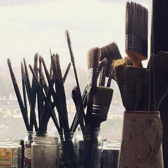 Contemplating #asleep #art #studio #brushes #edinburgh