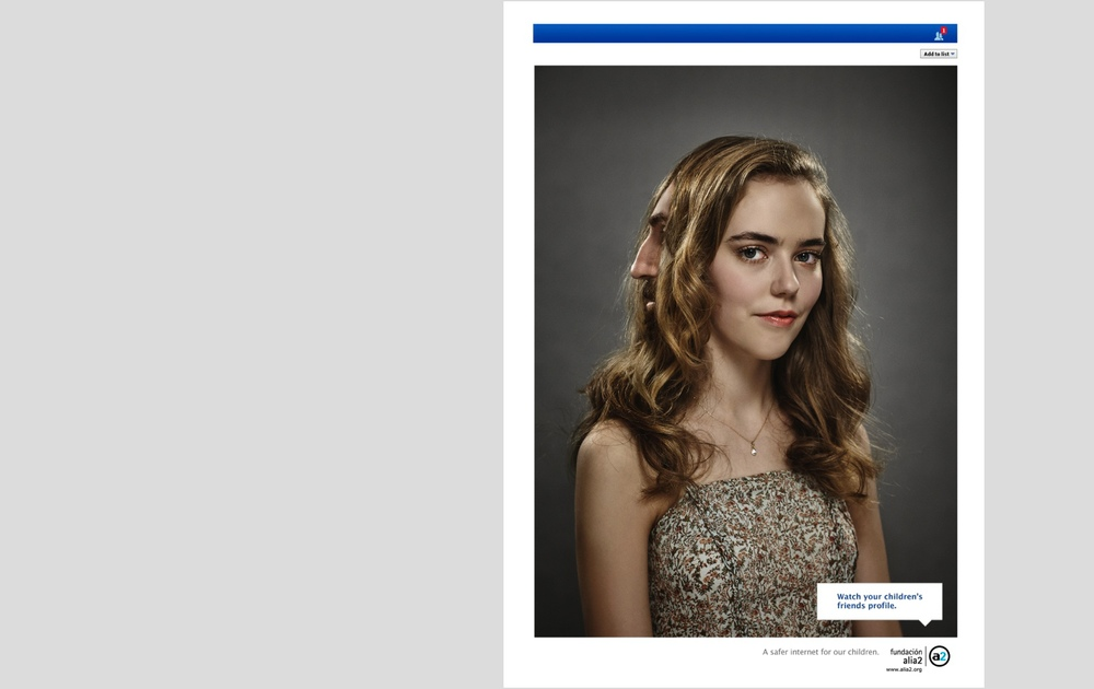 AWARDS: LUX ORO 2014 ADVERTISING    Title: Friend's request from Valeria.   Client:  Alia2 Foundation  A safer internet for our children.   Agency: TBWABarcelona.