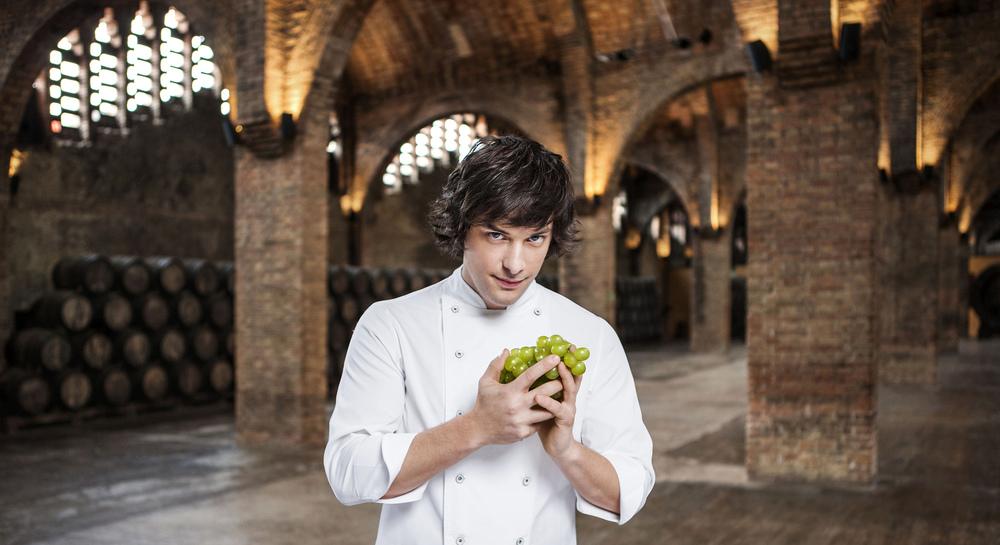 Portrait of Jordi Cruz, one the most famous chefs in Spain. He inspires a new wine byCodorniu.  Agency: Ideasde  Client: Codorniu  Location: Caves Codorniu, St. Sadurní d'Anoia, Barcelona.