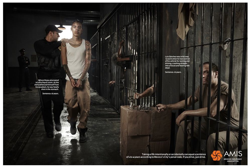 Client: AMIS.   Agency: Ogilvy Mexico.  We shot a campaign in a prison to explain that to text while driving can be really dangerous.   Short  List in Cannes Lions 2015.   Best Photography  Círculo Creativo 2005   Production: Madrefoca.   Digital Retouch: Pigliacampo Studio.