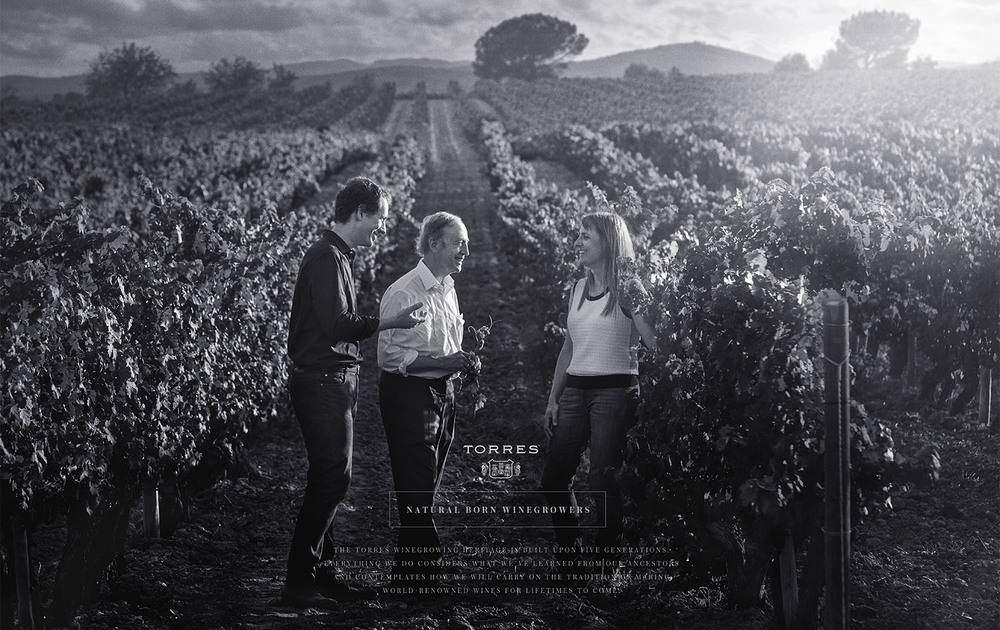 """Client:  TORRES   Agency:  DAF ( Chile)  Worldwide campaign """"Wine Growing Legacy""""  Father, son and daughter from TORRES family.   Location:  Vilagranca del Penedès, Barcelona."""