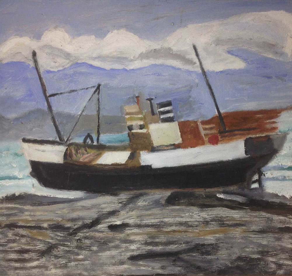Painting of MV Norholmen, artist unknown