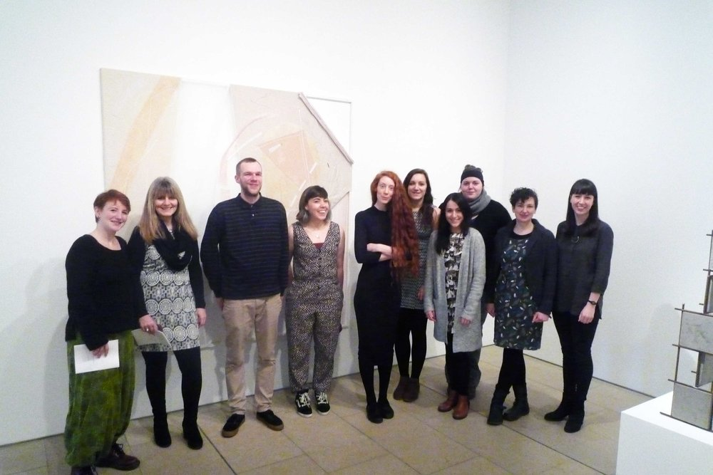 10 of the exhibiting Moti Collective members. From left to right: Kristyn Grieve, Norna Sinclair, Nick Gordon, Ingrid Garrioch, Louise Barrington, Steph Spence, Kari Adams, Kerrianne Flett, Emma Fraser and Frances Scott
