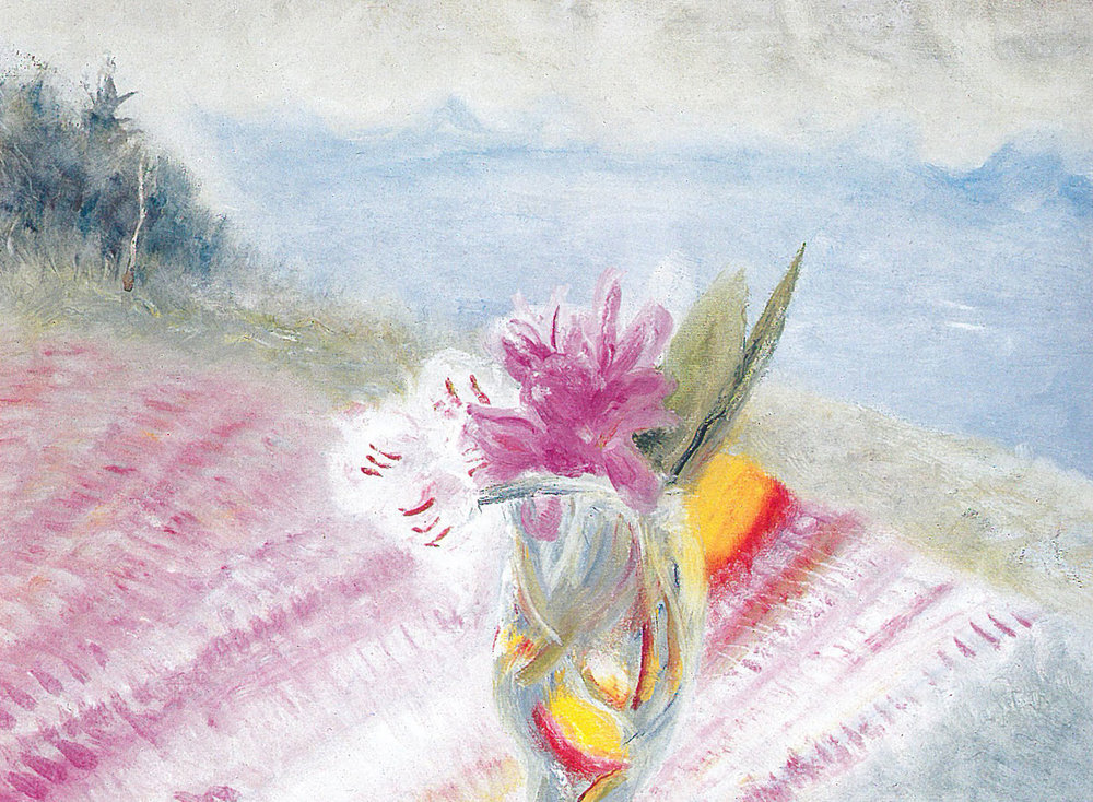 Winifred Nicholson,  Rhododendrons, Eigg (Pink Rhododendrons)  1980 oil on canvas