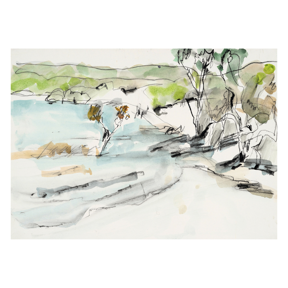 Lake Birrabeen from sketchbook  fine art print  40 x 40 cm