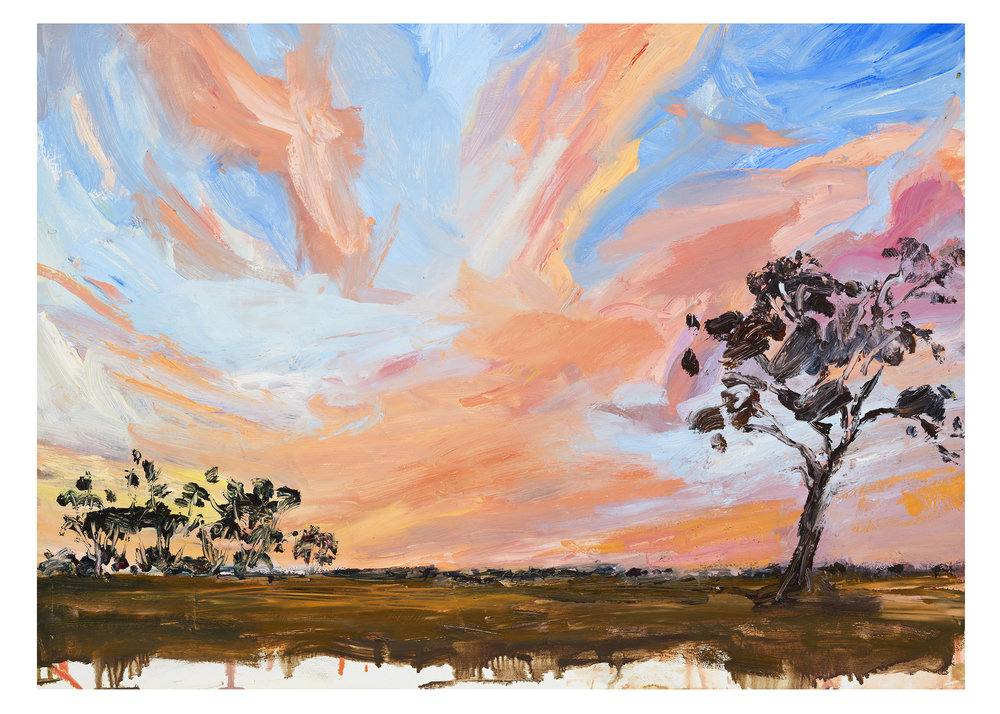 IIllustration from Mallee Sky picture book by Jodi Toering/Tannya Harricks. Published by Walker Books/Black Dog books.    Fine art print 40 x 56 cm   Limited edition of 49/50 available  AU $290 plus postage   to order please email me at harricks@iinet.net.au