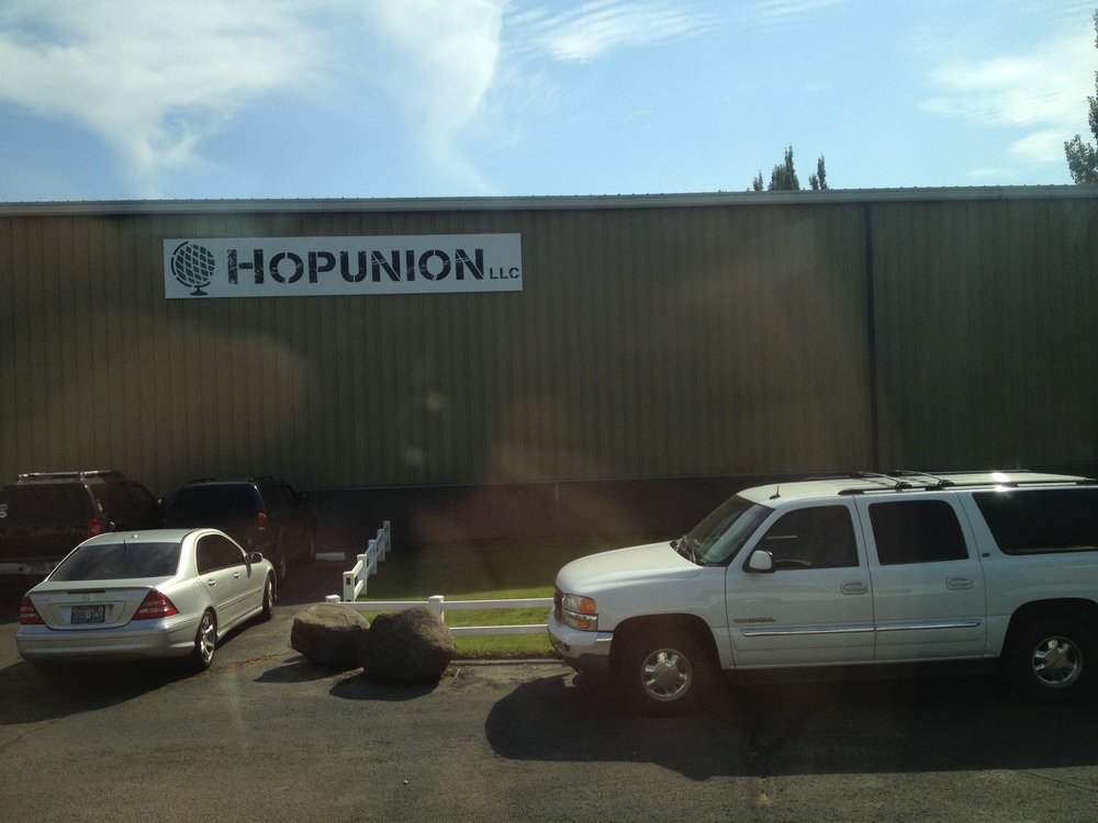 Hopunion as seen from our bus to the hop yards.