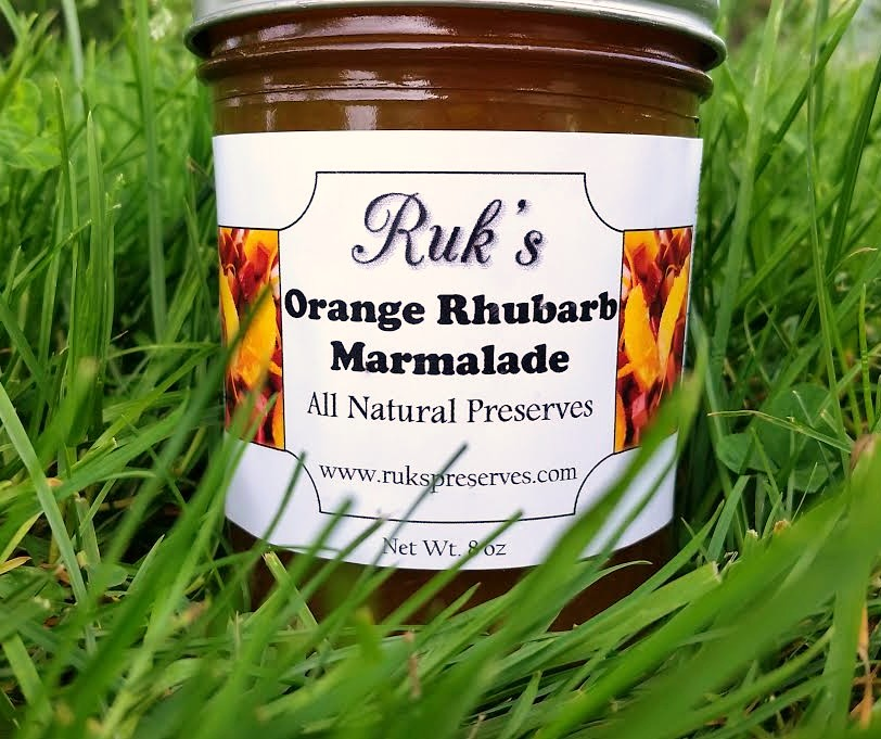 8 oz. Jar                                                             ( May-July)    Orange Rhubarb Marmalade was requested by a customer a few years ago and I'm so grateful she did...as such a unique and perfect flavor combination I knew right away it was a keeper!    Ingredients: Rhubarb, Oranges, Sugar, Pectin