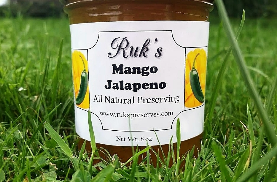 8 oz. Jar                        (May - September)    Mango Jalapeno is a nice mild combination perfect for over a pork loin or piece of salmon on the grill!    Ingredients: Mangoes, Sugar, Jalapenos, Pectin, Organic Lemon Juice