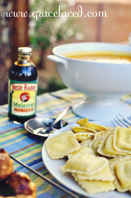butternut squash soup with ravioli and molasses