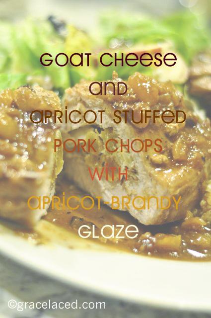 Goat Cheese and Apricot Stuffed Pork Chopse