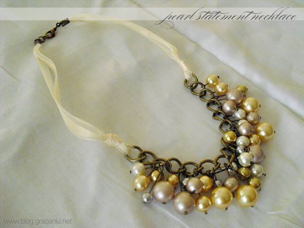 DIY Pearl statement necklace
