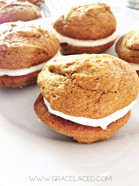 Pumpkin Whoopie Pies with Cream Cheese Filling — gracelaced