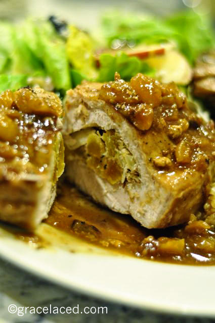 Goat Cheese and Apricot Stuffed Pork Chops with Apricot-Brandy Glaze