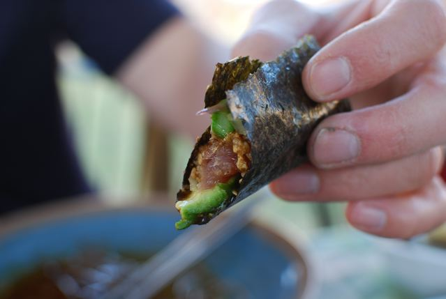 Asian-Style Chilled Asparagus & DIY Sushi Hand Rolls