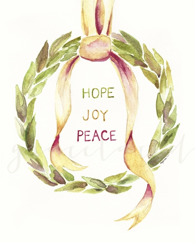 Hope Joy Peace Wreath Print