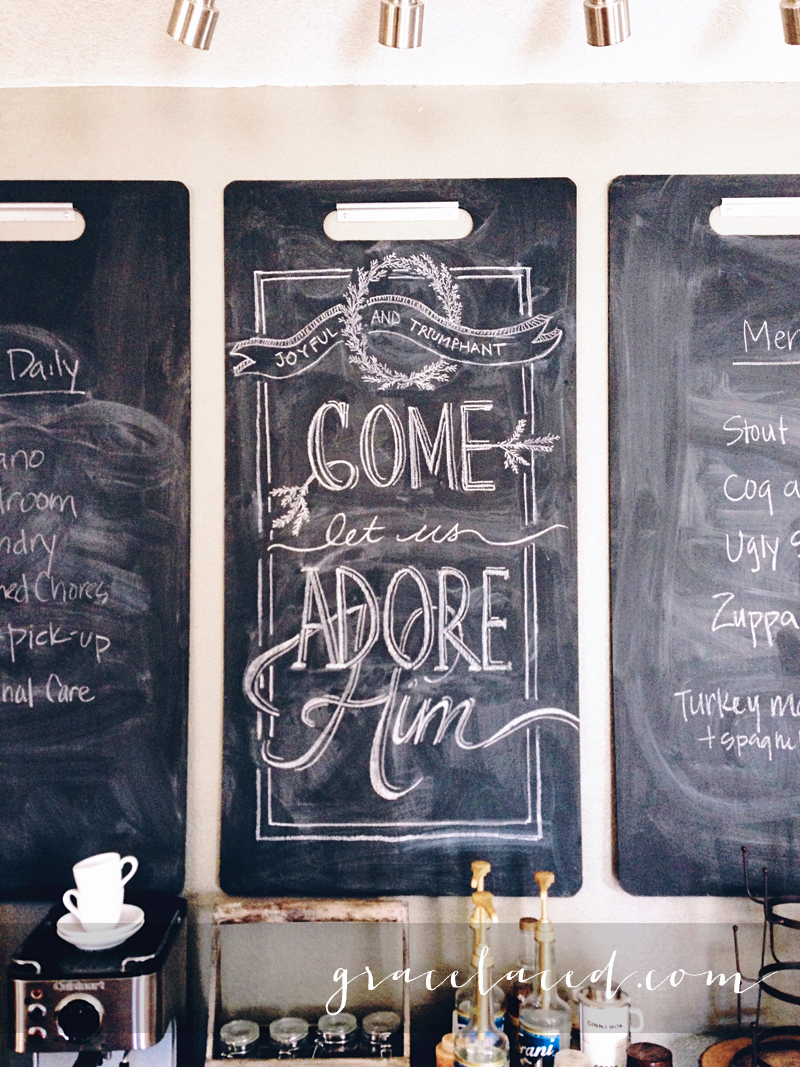 O come let us adore Him chalk art