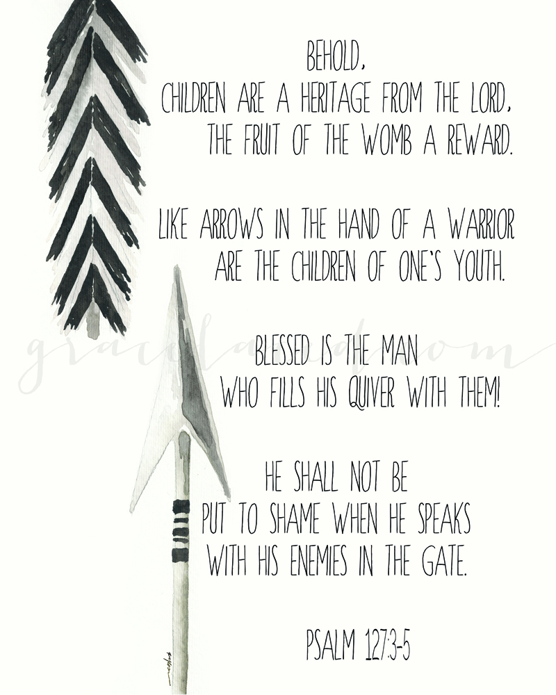Black and White Arrow Psalm 127