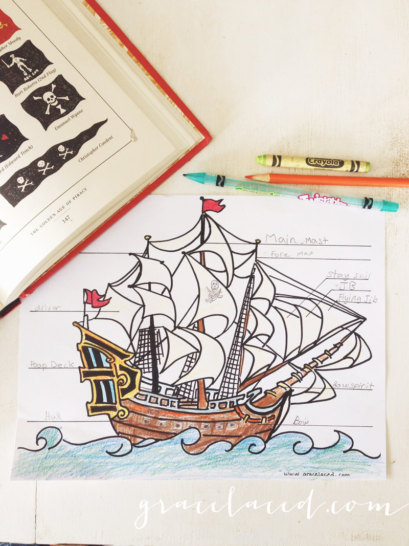 Anatomy Of A Pirate Ship Coloring Sheet {Free Printable}