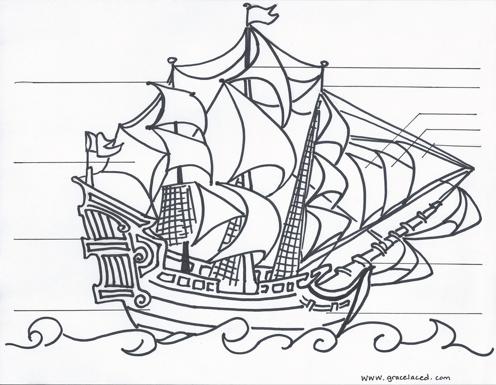 the anatomy of a pirate ship coloring sheet free printable - Sunken Pirate Ship Coloring Pages