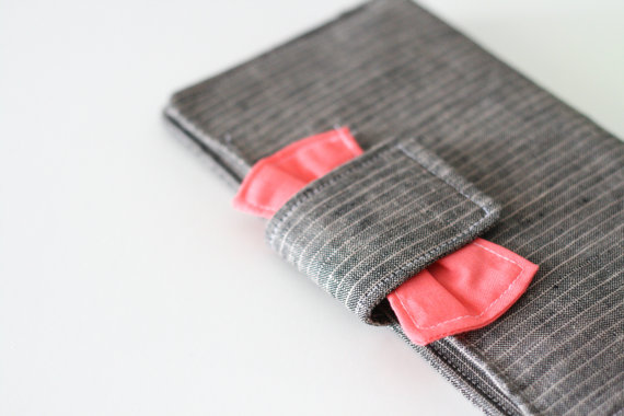Ruffled Stitch | Coral and Grey Pinstripe Wallet