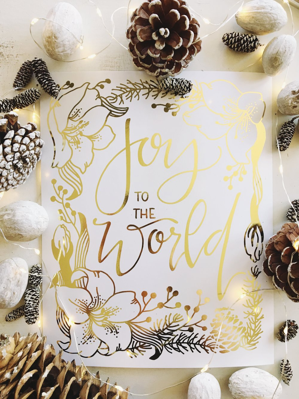 Gold Foil Joy To The World | gracelaced.com