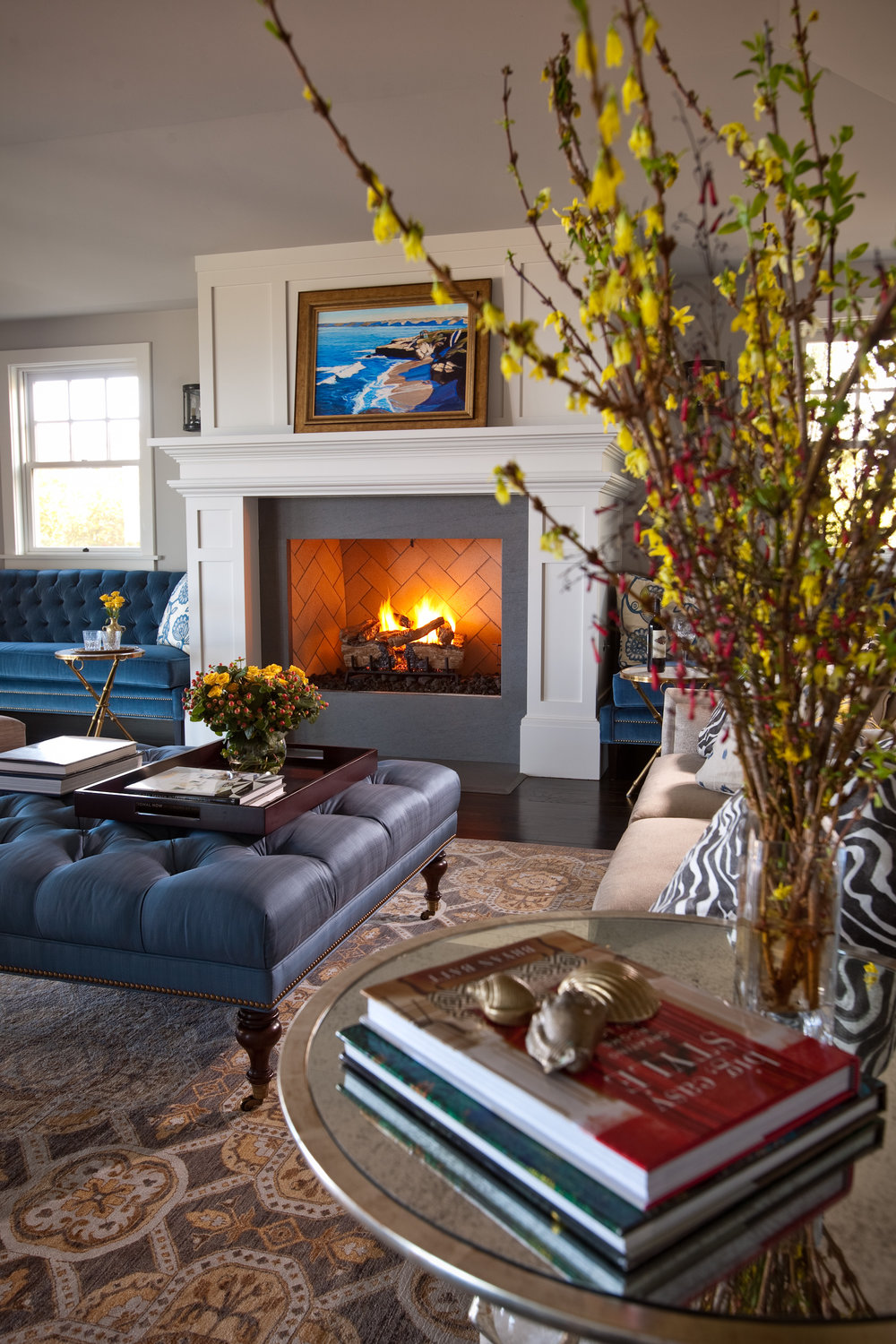 With a warm fire and a view of the Pacific Ocean, this might be the best seat in the house.