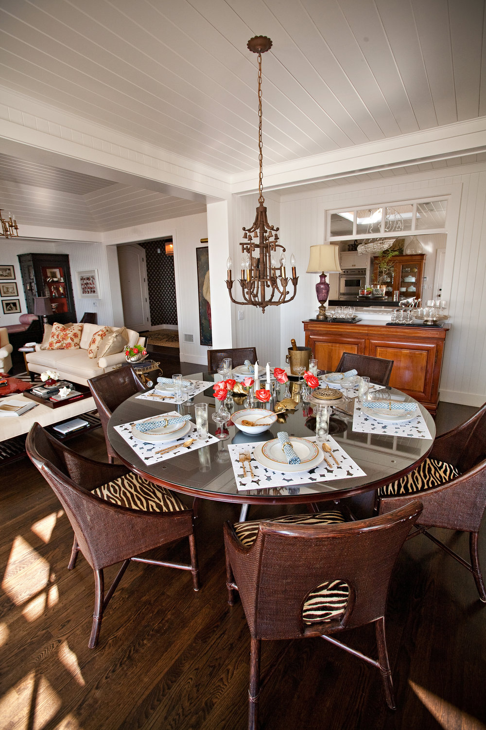 Featured in the 2012 McGuire Furniture catalogue, this dining room loves a good party.