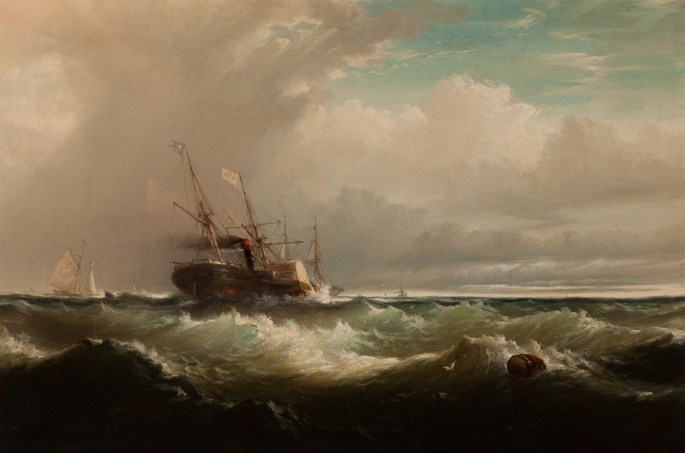 "Edward Moran, ""Stiff Breeze, Pilot Boat Beating to Windward"""