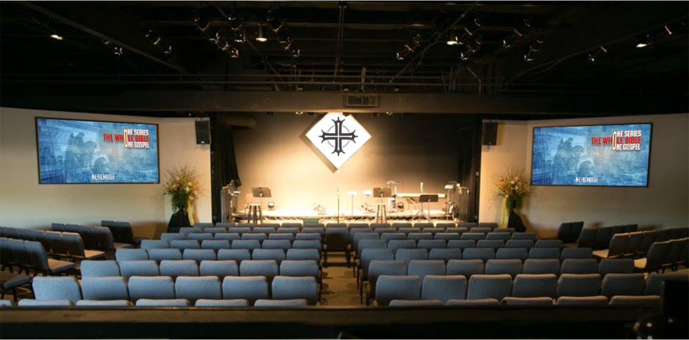 This is a mockup using a picture of the previous church's setup. We don't own anything in this picture...