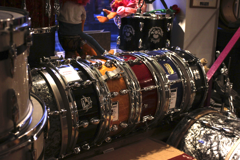 Just a few of the beautifully rebuilt snares at the Drum Vault.